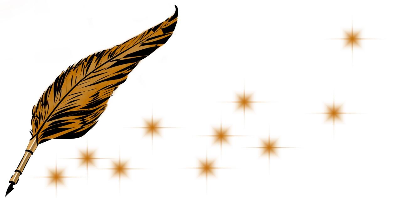 Goldene Schreibfeder, die eine Reihe Sterne hinter sich her zieht