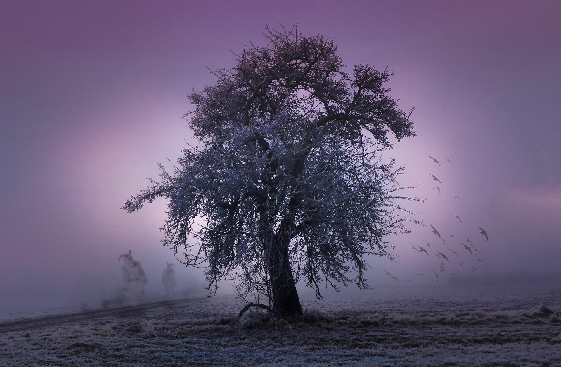 Baum im Zwielicht mit Raben und Dämonen.