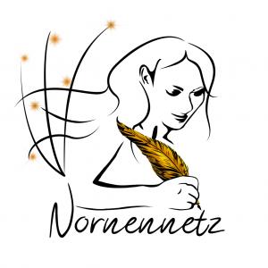 Die Umrisse einer Frau, deren Haar zu Netzlinien verläuft. In der Hand hält sie eine goldene Feder. Unterhalb der Frau steht Nornennetz, als wäre die Schrift als Tinte aus der Feder gelaufen.