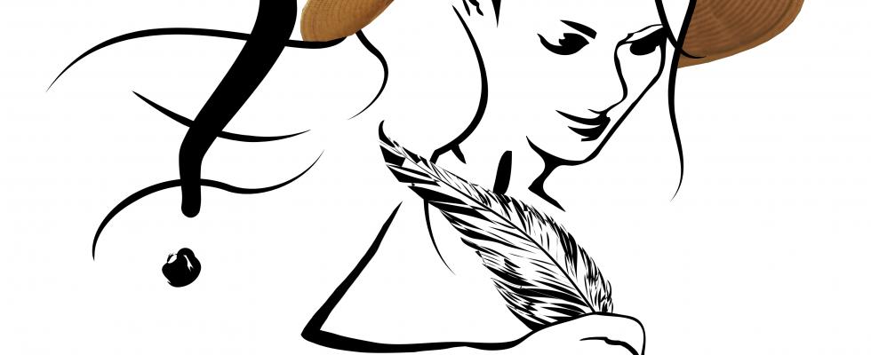 Fragefreitag_Grafik-Silhouette einer Frau mit Sonnenhut auf dem Kopf und Feder in der Hand