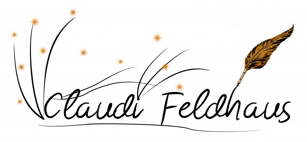 dekorativer Namensschriftzug mit goldenen Federn und Sternen
