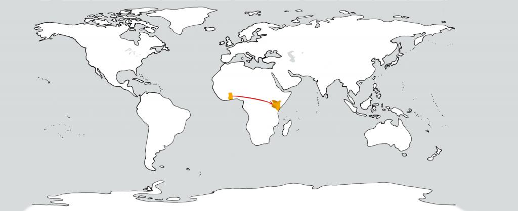 Eine weiße Weltkarte mit zwei goldenen Flecken in der Position von Ghana und Kenia. Ein roter Pfeil führt vom ersten zum zweiten.