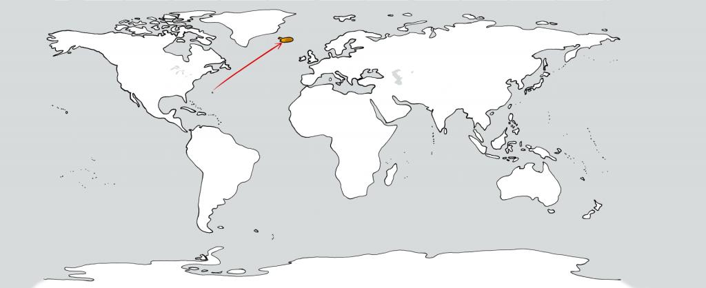 Eine weiße Weltkarte mit zwei goldenen Flecken in der Position der Bermudas und Islands. Ein roter Pfeil führt vom ersten zum zweiten.