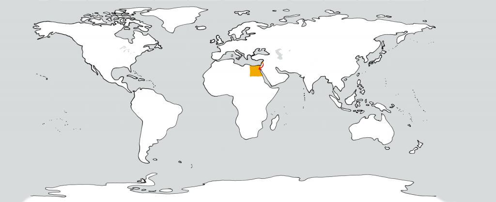 Eine weiße Weltkarte mit zwei goldenen Flecken in der Position vom Libanon und Ägypten. Ein roter Pfeil führt vom ersten zum zweiten.