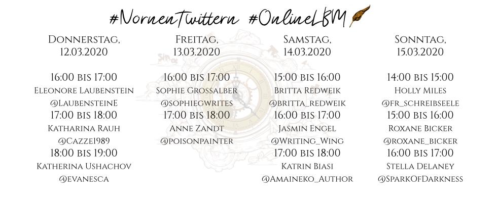 Grafische Aufarbeitung der unten genannten Daten mit den Hashtags #NornenTwittern und #OnlineLBM