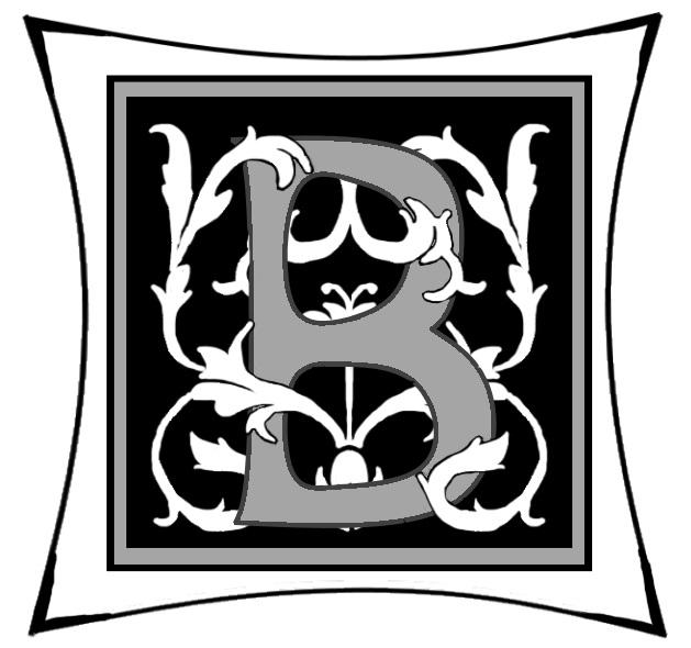 Ein B um dessen Rundungen Ranken geschlungen sind auf schwarzem Grund und mitgrauen graden Rahmen und darum noch ein weißer eckiger Rahmen.