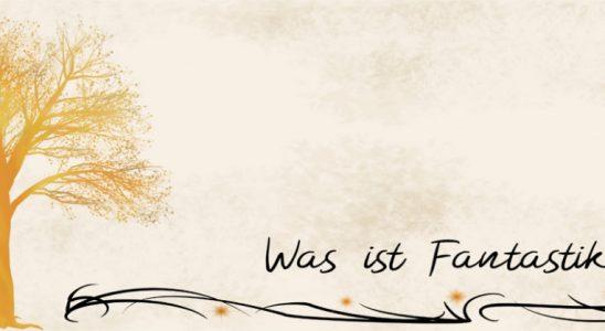 """Weltenesche in Gold mit Schrift """"Was ist Fantastik?"""""""