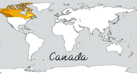 Weltkarte mit Schriftzug Kanada
