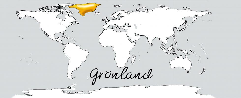 Weltkarte mit Schriftzug Grönland