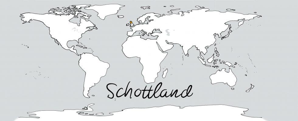 Weltkarte mit Schriftzug Schottland