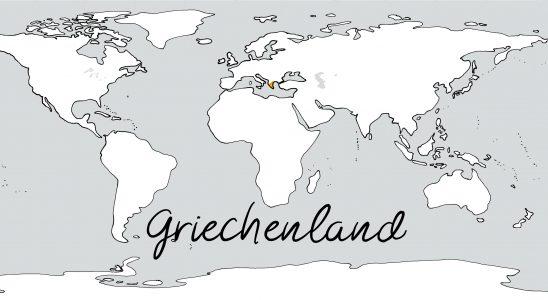 Weltkarte mit Schriftzug Griechenland