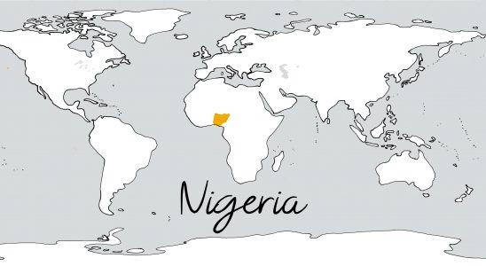 Weltkarte mit Schriftzug Nigeria