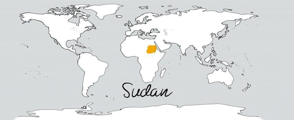 Weltkarte mit Schriftzug Sudan