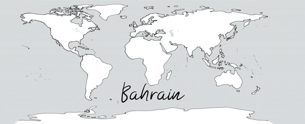Weltkarte mit Schriftzug Bahrain