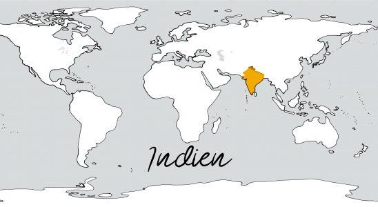 Weltkarte mit Schriftzug Indien