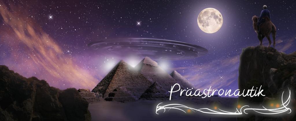Raumschiff über den Pyramiden bei Vollmond Schristzug Präastronautik