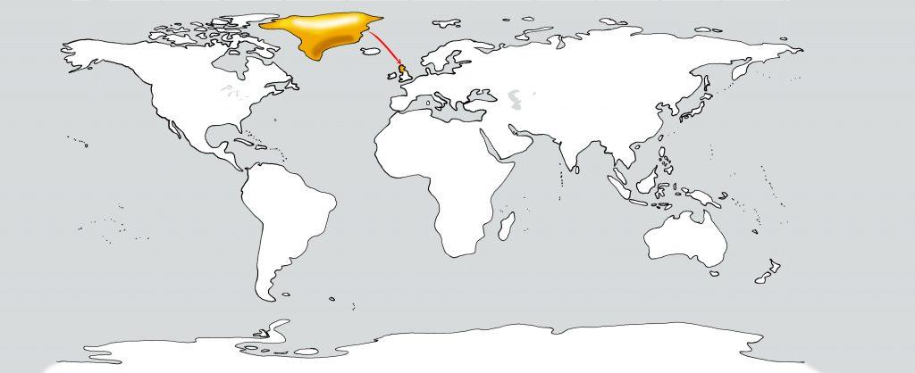 Weltkarte Grönland nach Schottland
