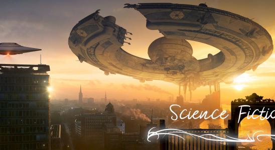 Eine futuristische Stadt bei Sonnenuntergang, über der ein Ringförmiges Raumschiff schwebt. Text: Science Fiction
