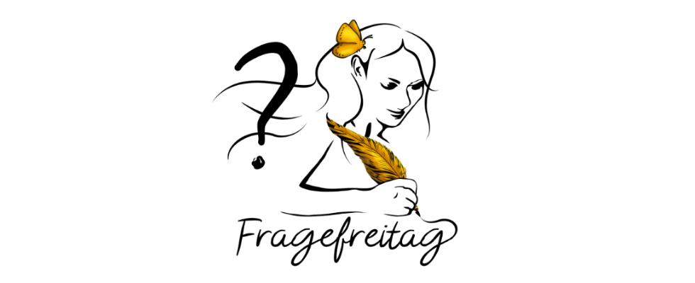 Person mit langen Haaren, Feder in der Hand und goldenem Schmetterling im Haar. Links über der Figur ist ein Fragezeichen