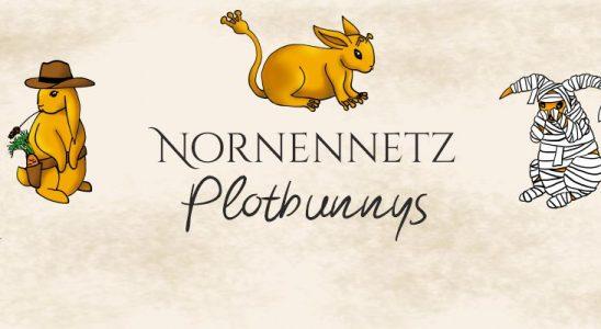 """Um den Schriftzug """"Nornennetz Plotbunnys"""" sind links ein sitzender goldener Hase mit Cowboyhut und Grashalm im Maul, im Waffengürtel steckt eine Karotte, darüber ist ein goldener auf vier Beinen sitzender Hase mit Alien-Veränderungen, die Pfoten sind froschartig, zwei kleine Antennen gucken aus der Stirn, der Puschel ist einem langen """"Griffel"""" (Pokémon) Schwanz nachempfunden. Rechts ist ein trauriges auf den Hinterbeinen sitzendes Hasi, das komplett mit Verband umwickelt ist. In den linken und rechten unteren Ecken des Bildes sind Frühlingsblumen zu sehen."""