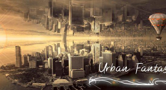 Gespiegelte Großstadt vor Sonnenuntergang mit einem Heißluftballon Schriftzug Urban Fantasy