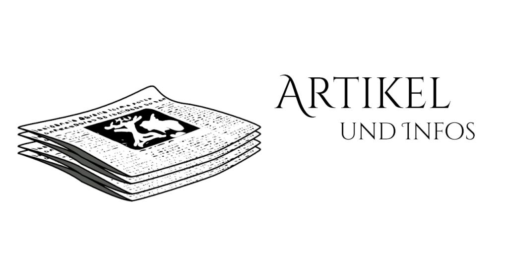 """Ein Stapel Zeitungen als schwarz-weiß Zeichnung neben der Schrift """"Artikel und Infos"""""""