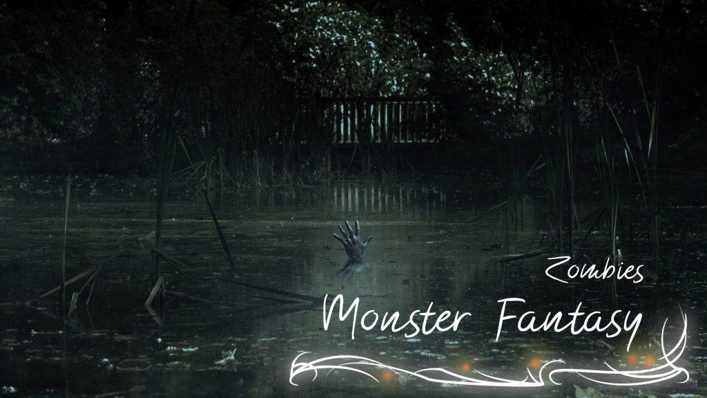 """Eine Sumpf aus dem eine schwarz-verweste Hand herausragt. In der Ecke der Schriftzug """"Zombie Monster Fantasy"""" mit verschnörkeltem Eckrahmen."""