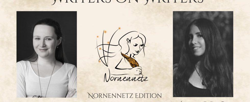 """Oben Titel Writers on Writers, darunter links Foto von Eva-Maria Obermann, Mitte das Nornennetz-Logo, rechts Foto von Catherine R. R. Snow. Darunter jeweils ihre Namen und """"Nornennetz Edition"""""""