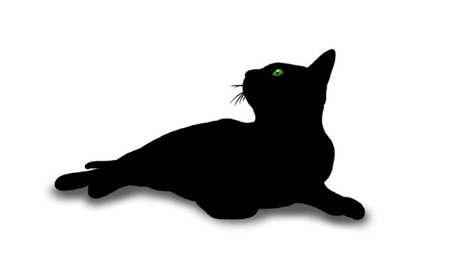Digitale Zeichnung einer komplett schwarzen Katze mit leuchtend grünen Augen, die liegt, aber den Kopf neugierig in die Höhe streckt.