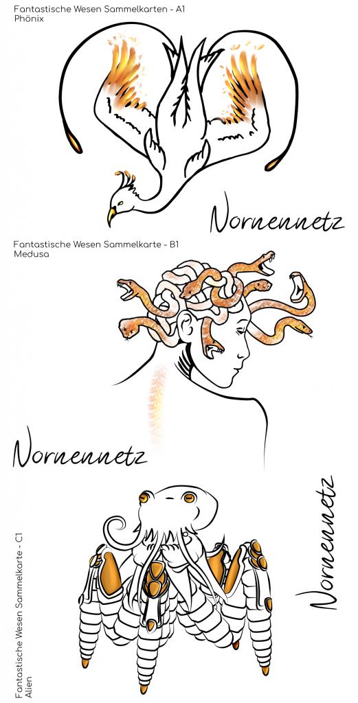 Postkartenset 1: Untereinander drei Postkarten jeweils mit vergoldeten Akzenten. v.o.n.u. Phönix, Medusa und Alien H.O.R.S.T.