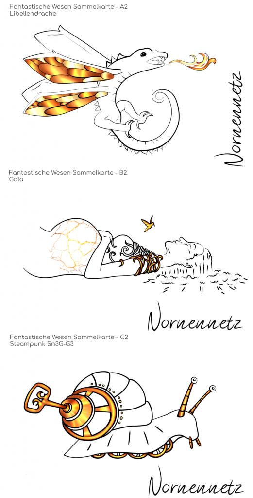 Postkartenset 1: Untereinander drei Postkarten jeweils mit vergoldeten Akzenten. v.o.n.u. Libellendrache Erna, Gaia, Steampunk Sn3G-G3