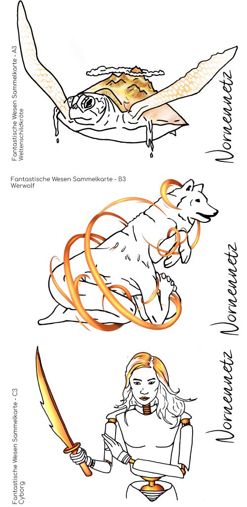 Postkartenset 1: Untereinander drei Postkarten jeweils mit vergoldeten Akzenten. v.o.n.u. Weltenschildkröte, Werwolf in der Verwandlung, Cyborg mit Schwert