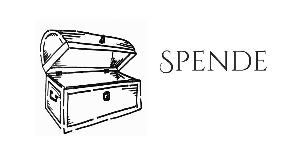 """Schlichte schwarz weiß Zeichnung einer offenen Truhe links. Rechts das Wort """"Spende"""""""
