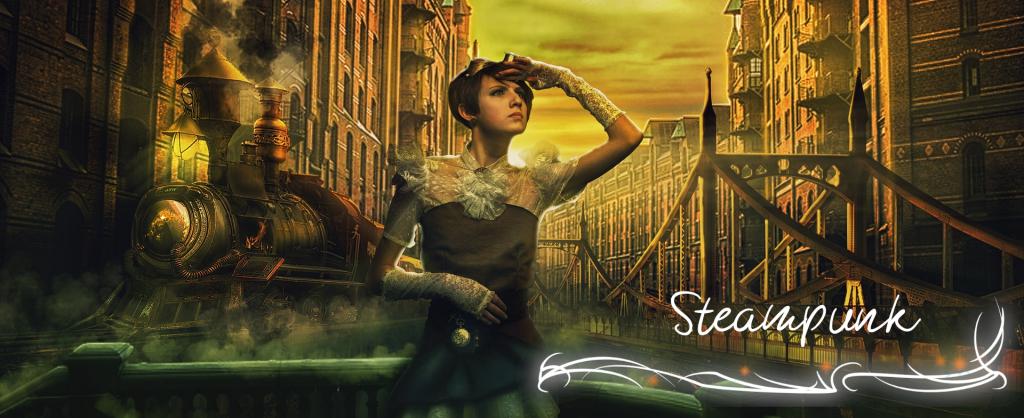 Person im Kleid mit Kurzen Haaren sieht in die Ferne vor einer Lokomotive und viktorianischen Stadt