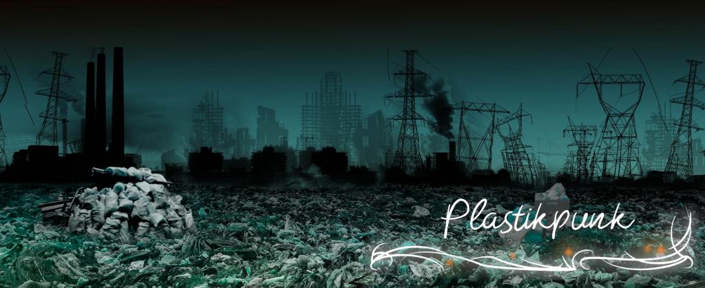 Schrifzug Plastikpunkt vor zerstörter Landschaft mit Plastikmüll