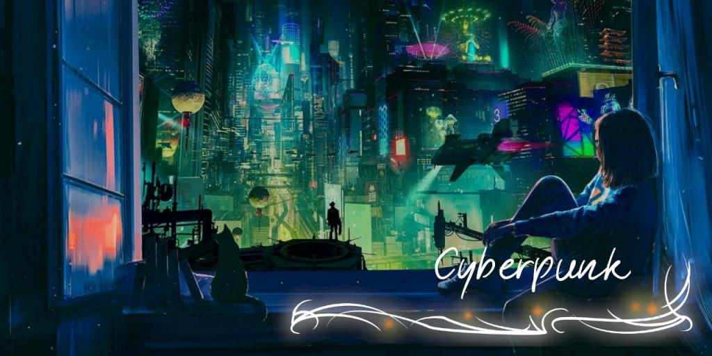 """Ein Bild einer Straße voller Neonlichter, Wolkenkratzer und fliegender Fahrzeuge. Eine Figur schaut aus einem geöffneten Fenster darauf hinaus, eine Katze neben sich. Unten rechts die Beschriftung """"Cyberpunk"""""""